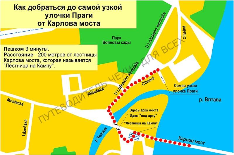 Как добраться до самой узкой улочки Праги.