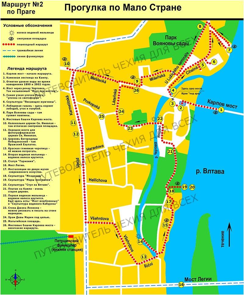 Карта пешеходного маршрута №2 по Мало Стране.