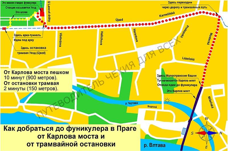 Как добраться до фуникулёра на Петршином холме от Карлова моста и от трамвайной остановки Уезд.