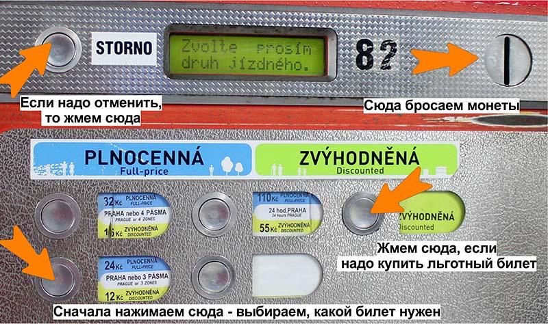Как покупать билет на фуникулёр в Праге.