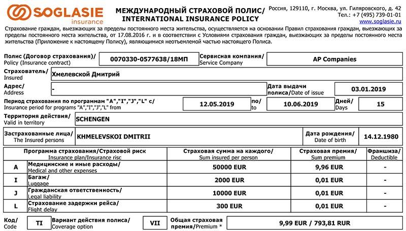 Медицинская страховка в Чехию. Для Европы я беру недорогие, но работающие страховки (Согласие, Zetta, Тинькофф и др.).