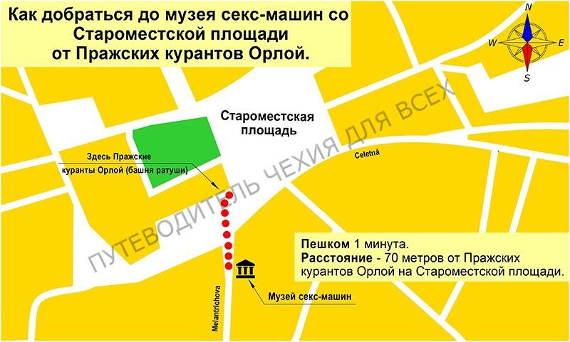 Как добраться до музея от Староместской площади (от Пражских курантов Орлой).