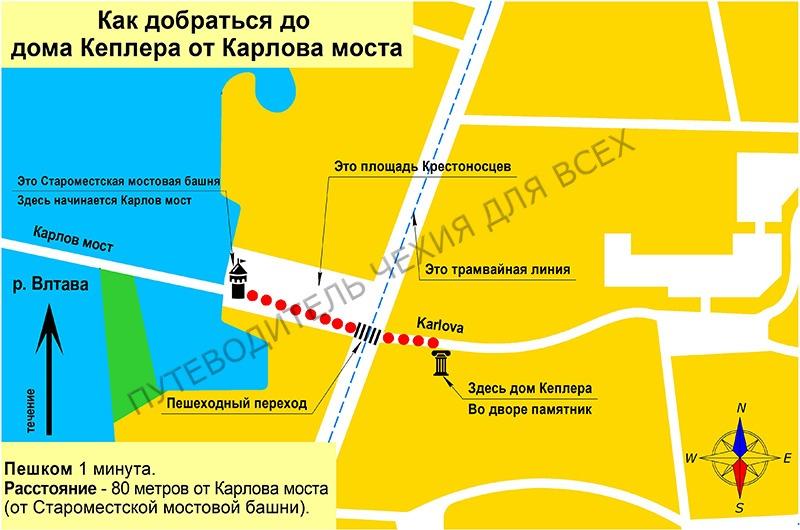 Как найти дом Кеплера в Праге. Идём от Карлова моста.