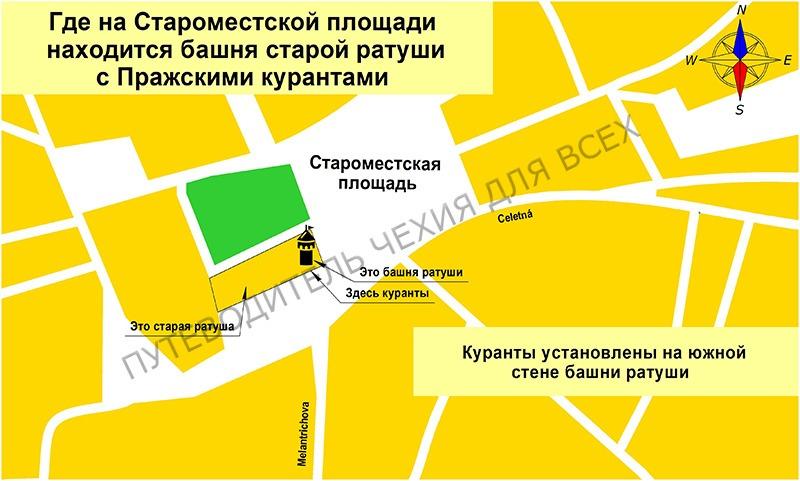 Где на Староместской площади находятся часы.