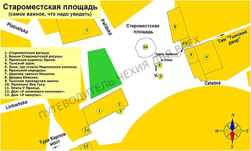 Где и что расположено на Староместской площади.