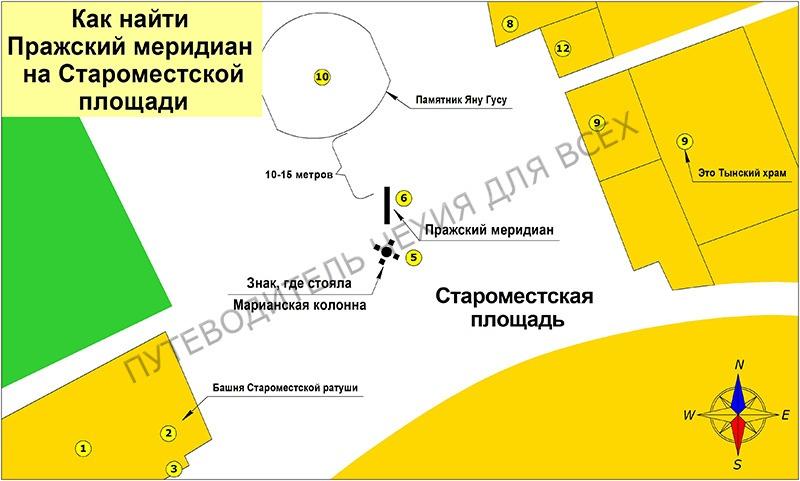 Как найти Пражский меридиан и место, где стояла раньше Марианская колонна.