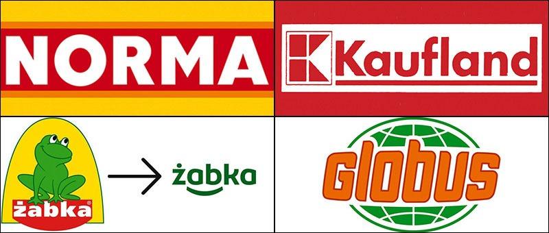 Торговые знаки (таблички, вывески) менее распространенных супермаркетов. Запомните их.